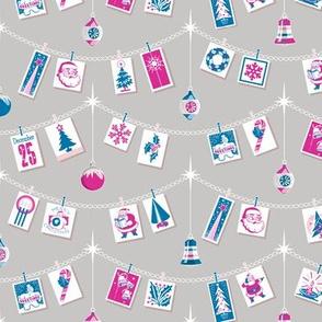 Season's Greetings* (Blue & Pink on Silkscreen) || greeting cards Christmas holiday holly snowflake winter December ornaments garland stars Santa Claus tree candy cane snowman bells vintage ephemera