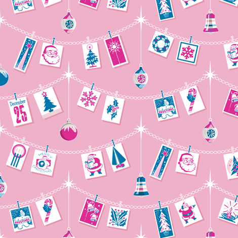 Season's Greetings* (Blue & Pink on Pink Cow) || greeting cards Christmas holiday holly snowflake winter December ornaments garland stars Santa Claus tree candy cane snowman bells vintage ephemera fabric by pennycandy on Spoonflower - custom fabric