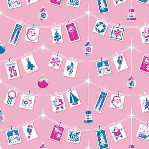 Season's Greetings* (Blue & Pink on Pink Cow) || greeting cards Christmas holiday holly snowflake winter December ornaments garland stars Santa Claus tree candy cane snowman bells vintage ephemera