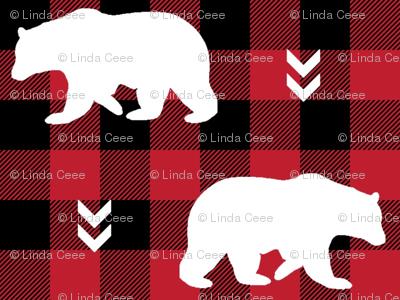 White Bears  – Black + Red Buffalo Plaid Check Woodland Baby Nursery Bedding
