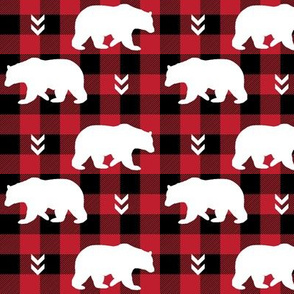 White Bears  – Black + Red Buffalo Plaid Check Woodland Baby Nursery Bedding