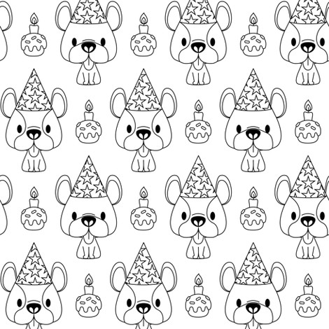 French bulldog birthday party (color me version) fabric by petitspixels on Spoonflower - custom fabric