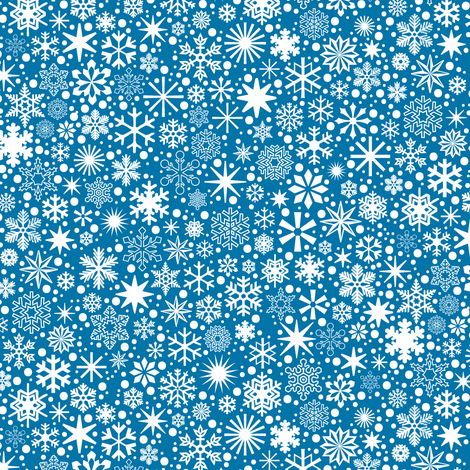 Let It Snow!* (Blue Liz) || snowflakes ditsy star stars winter Christmas holiday fabric by pennycandy on Spoonflower - custom fabric