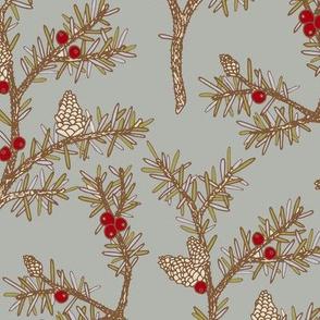 Evergreen Pinecones and Berries Vintage