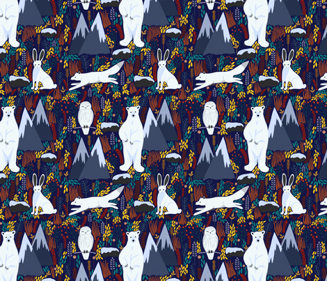 Arctic Tundra in Autumn fabric by emilyrosethomson on Spoonflower - custom fabric