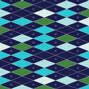 Fremont* (Greens on Jackie Blue) || midcentury modern diamonds texture barkcloth bark cloth vintage Las Vegas atomic harlequin geometric christmas holiday preppy argyle abacus