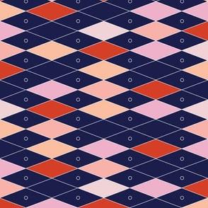 Fremont* (Reds on Jackie Blue) || midcentury modern diamonds texture barkcloth bark cloth vintage Las Vegas atomic harlequin geometric christmas holiday preppy argyle abacus