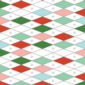 Fremont* (Green & Red) || midcentury modern diamonds texture barkcloth bark cloth vintage Las Vegas atomic harlequin geometric christmas holiday preppy argyle abacus