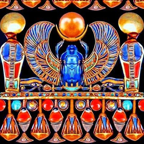 ancient egypt egyptian cobras snakes sun scarab beetles eyes horus ankhs flowers lily lilies pharaoh gold wings
