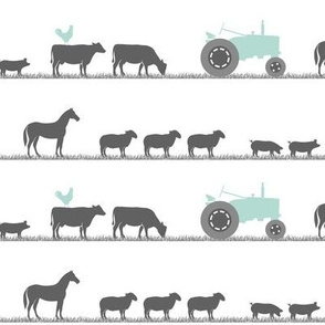 farm animals on parade - dark mint and grey