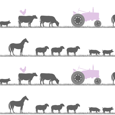 farm animals on parade - purple and grey fabric by littlearrowdesign on Spoonflower - custom fabric