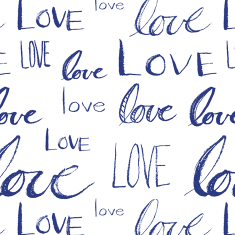 Words of Love // Blue fabric by thinlinetextiles on Spoonflower - custom fabric