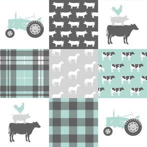 farm wholecloth - dark mint and grey