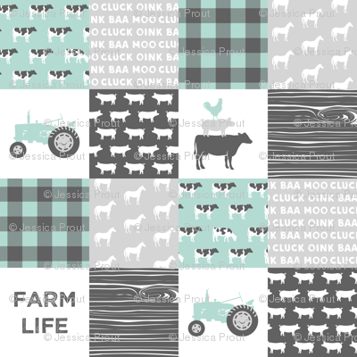 farm life - farm wholecloth - dark mint and grey
