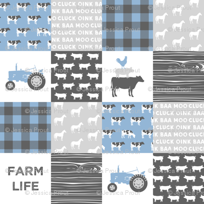 farm life - wholecloth- blue and grey