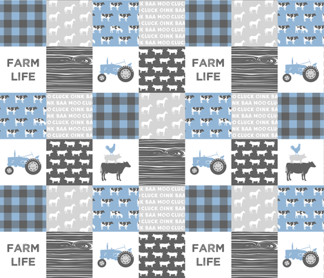 farm life - wholecloth- blue and grey fabric by littlearrowdesign on Spoonflower - custom fabric