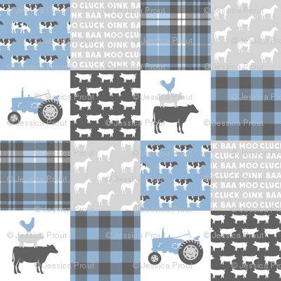 farm wholecloth - blue and grey