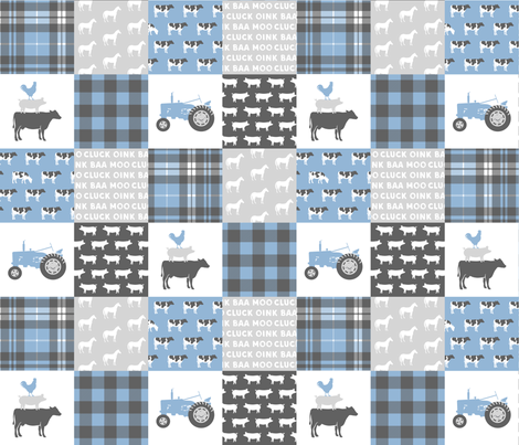 farm wholecloth - blue and grey fabric by littlearrowdesign on Spoonflower - custom fabric