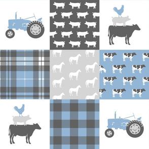 farm wholecloth - blue and grey