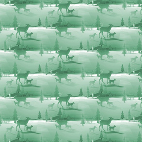 Deer Scene - Green