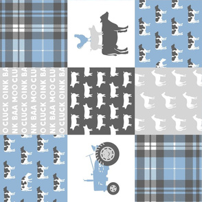 farm wholecloth - blue and grey (90)