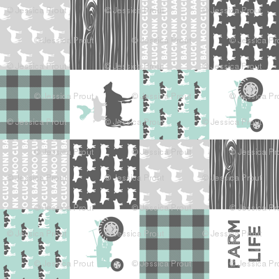 farm life - farm wholecloth - dark mint and grey (90)