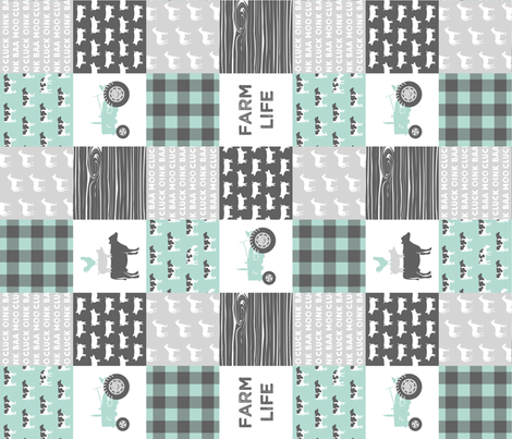 farm life - farm wholecloth - dark mint and grey (90) fabric by littlearrowdesign on Spoonflower - custom fabric