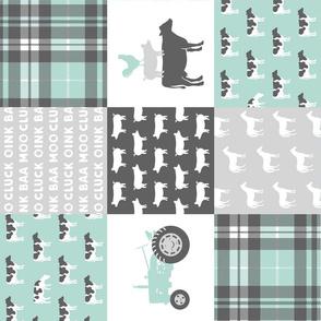 farm wholecloth - dark mint and grey (90)