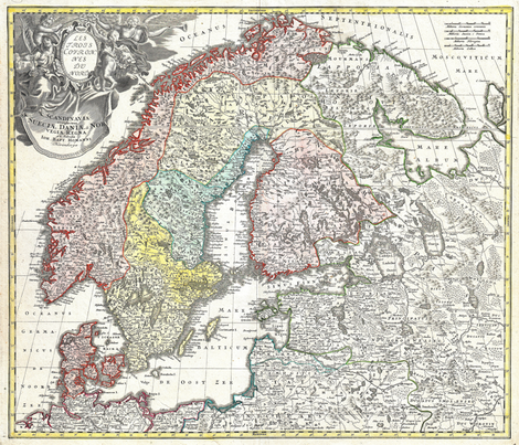 "1730 Map of Scandinavia (42""W) fabric by thinlinetextiles on Spoonflower - custom fabric"