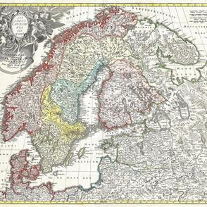 "1730 Map of Scandinavia (42""W)"