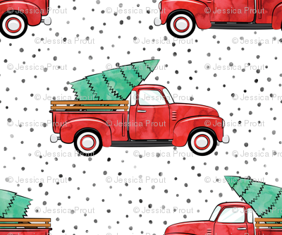 vintage truck with tree - watercolor red and green