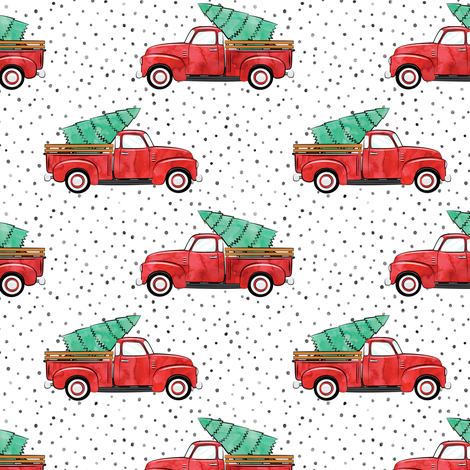 vintage truck with tree - watercolor red and green  fabric by littlearrowdesign on Spoonflower - custom fabric