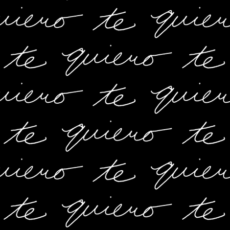 Te Quiero // Black fabric by thinlinetextiles on Spoonflower - custom fabric
