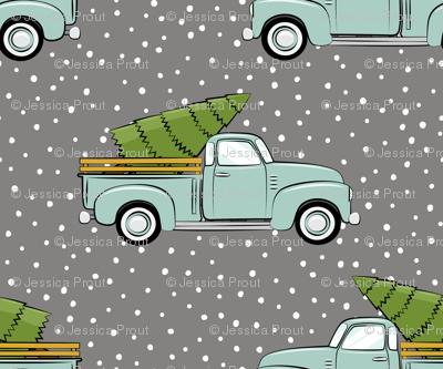 vintage truck with tree - vintage mint on grey