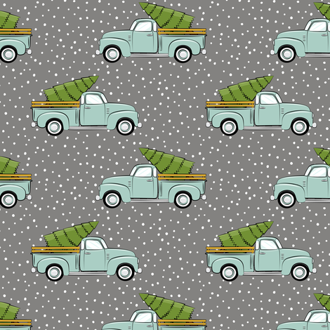 vintage truck with tree - vintage mint on grey fabric by littlearrowdesign on Spoonflower - custom fabric
