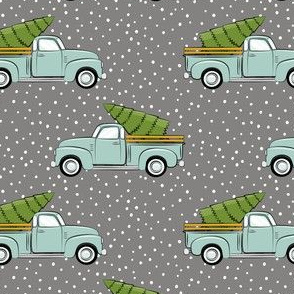 vintage truck with tree - vintage mint on grey