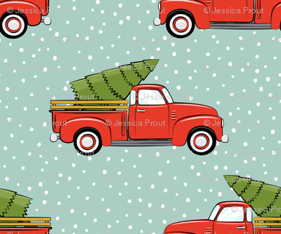 vintage truck with tree - vintage red and mint