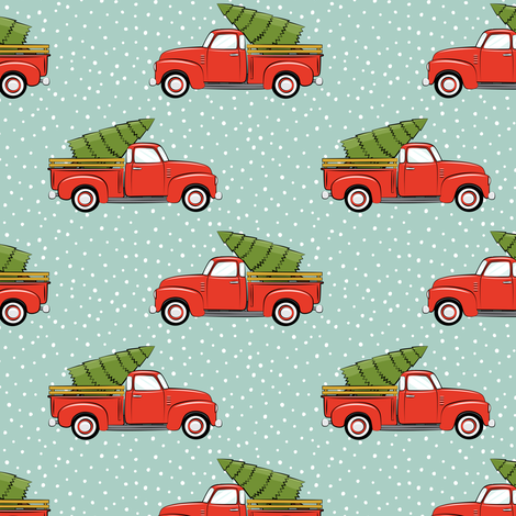 vintage truck with tree - vintage red and mint fabric by littlearrowdesign on Spoonflower - custom fabric