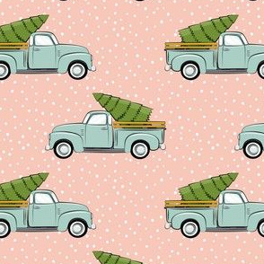 vintage truck with tree - vintage mint and pink
