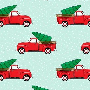 vintage truck with tree - red and aqua