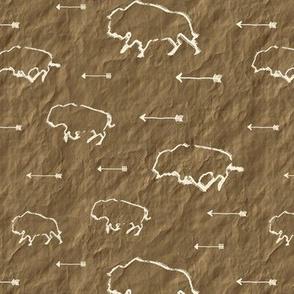 Buffalo Hunt // Dark Parchment // Small
