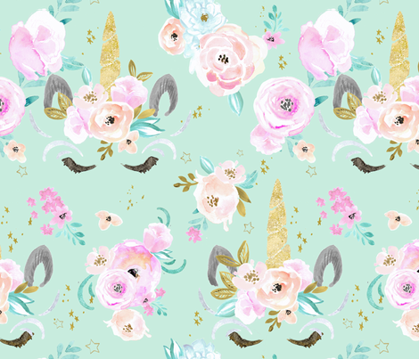unicorn floral mint fabric by crystal_walen on Spoonflower - custom fabric