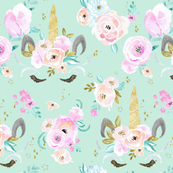 unicorn floral-minty-blue-green