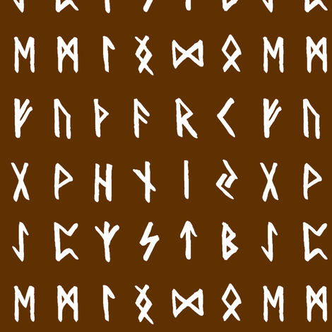 Nordic Runes on Raw Umber // Small fabric by thinlinetextiles on Spoonflower - custom fabric