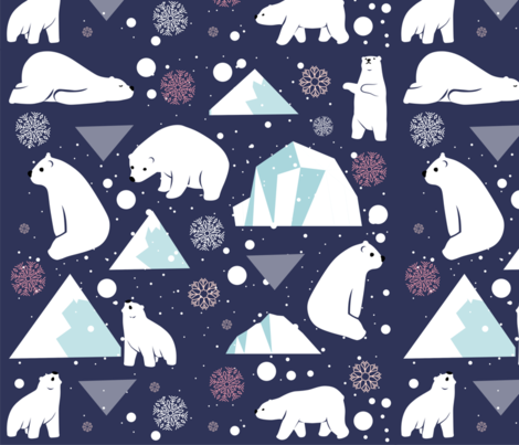 "Polar bear beauty 16""x16"" fabric by shasmeen on Spoonflower - custom fabric"