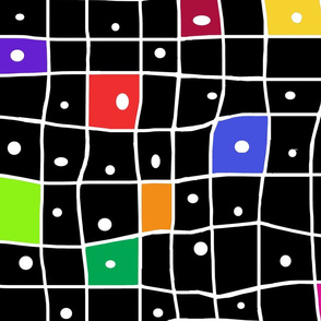 Wonky Grid-black multicolor