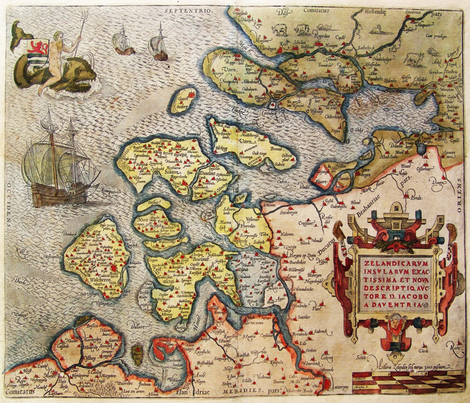 """1580 Map of Zeeland (42"""") fabric by thinlinetextiles on Spoonflower - custom fabric"""