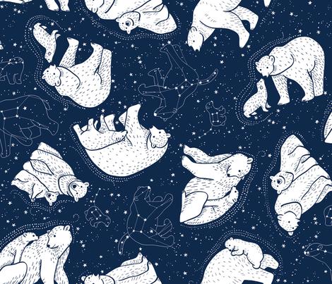 Polar Bear and Constellation  fabric by marketa_stengl on Spoonflower - custom fabric