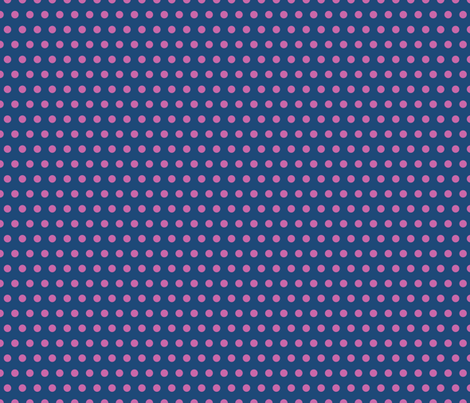 Swedish-Folk-Art-Garden-Blue-Pink-Polka fabric by linziloop on Spoonflower - custom fabric