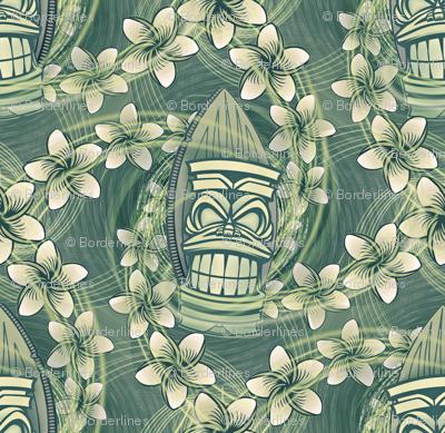 ★ HAWAII TIKI ★ Green - Small Scale / Collection : Hawaiian Trip - Plumeria & Tiki for Aloha Shirt Print